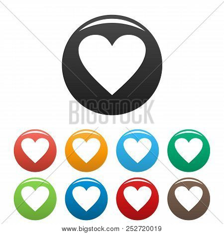 Dull Heart Icon. Simple Illustration Of Dull Heart Icons Set Color Isolated On White