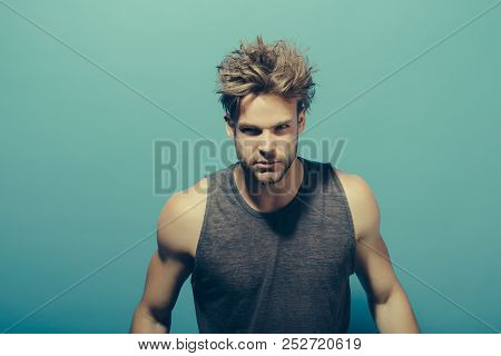 Hair Concept. Handsome Man With Messy Hair. Young Guy Need Comb Blond Hair. Hair Salon
