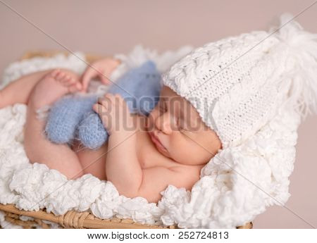 Cute sleeping newborn baby boy