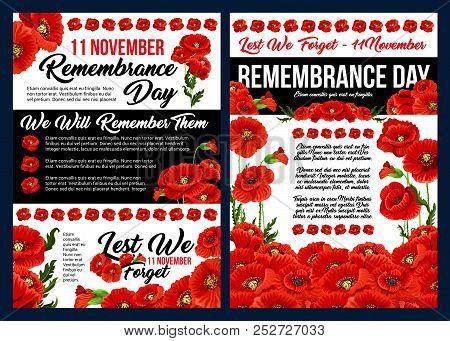 Remembrance Day Lest We Forget Banner Set For 11 November Anniversary Celebration. Red Poppy Flower