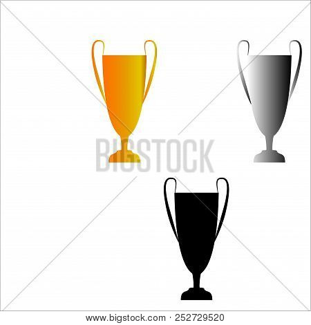 Cup Award Color Silhouette. Modern Symbol Of Victory, Award Achievement Sport. Insignia Ceremony Awa