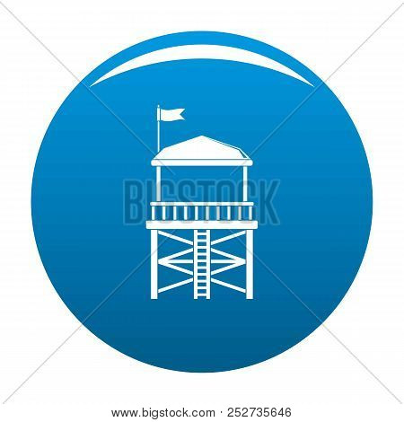 Rescue Tower Icon. Simple Illustration Of Rescue Tower Icon For Any Design Blue