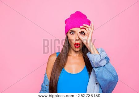 I'm Spy! Follow You! Close Up Photo Portrait Of Funky Pretty With Opened Mouth Lady Making Ok Symbol