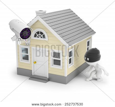 3d Small People - The Thief Sneaks To The House With A Surveillance Camera. 3d Image. White Backgrou