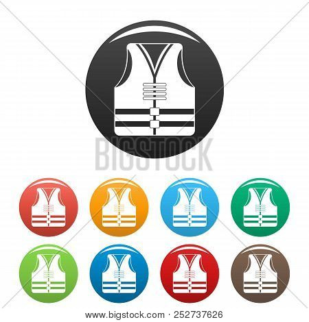 Rescue Vest Icon. Simple Illustration Of Rescue Vest Icons Set Color Isolated On White