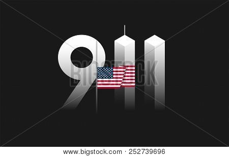 9/11 Patriot Day, September 11 Vector Illustration With The Flag Of The United States Flown At Half-