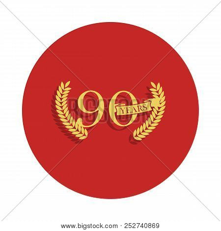90 Years Anniversary Sign. Element Of Anniversary Sign. Premium Quality Graphic Design Icon In Badge
