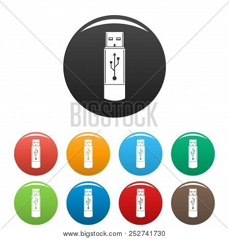 Portable Flash Drive Icon. Simple Illustration Of Portable Flash Drive Icons Set Color Isolated On W