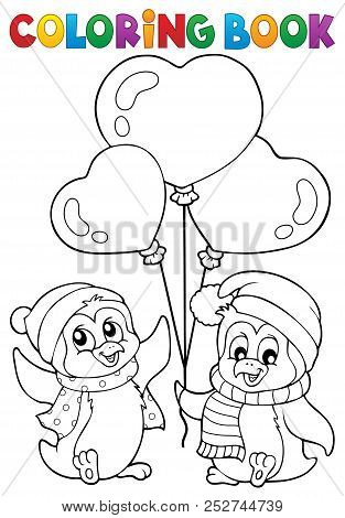 Coloring Book Valentine Penguins 1 - Eps10 Vector Picture Illustration.