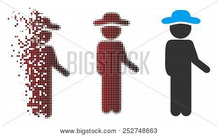 Vector Gentleman Idler Icon In Fractured, Pixelated Halftone And Undamaged Solid Versions. Disappear