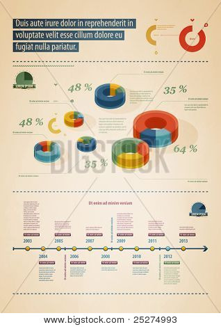 elements of infographics in retro style