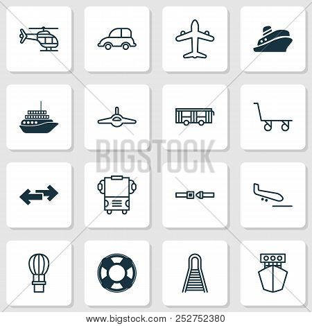 Transport Icons Set With Combat Aircraft, Copter, Motorboat And Other Ship Elements. Isolated Vector