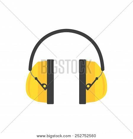 Protective Ear Muffs. Yellow Headphones For Construction Worker. Professional Equipment For Hearing