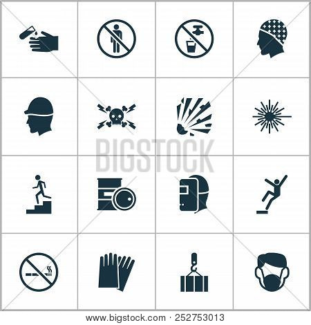 Safety Icons Set With Light, High Voltage, Hand Protection Cigarette Forbidden Elements. Isolated Ve