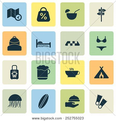 Journey Icons Set With Tent With Fire, Coffee, Discount And Other Diver Shoe Elements. Isolated  Ill