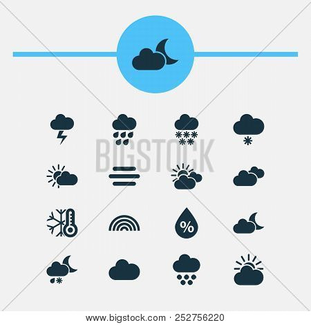 Weather icons set with rainbow, light snow shower, heavy rain and other haze elements. Isolated  illustration weather icons. poster