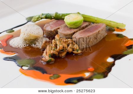Molecular Cuisine Of Lamb, Mushrooms, Asparagus And Broccoli