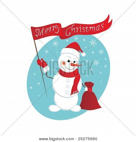Funny snowman with a bag of gifts. Christmas background. poster
