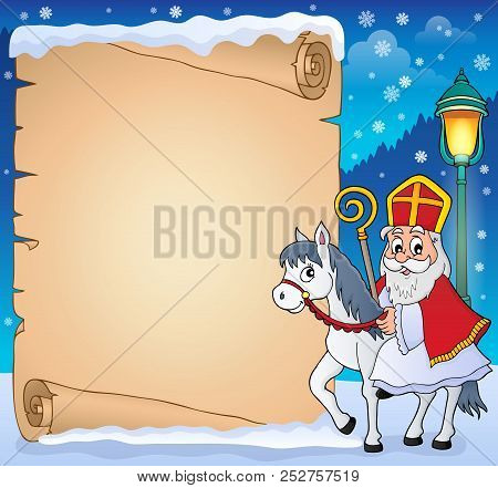 Parchment With Sinterklaas Theme 4 - Eps10 Vector Picture Illustration.