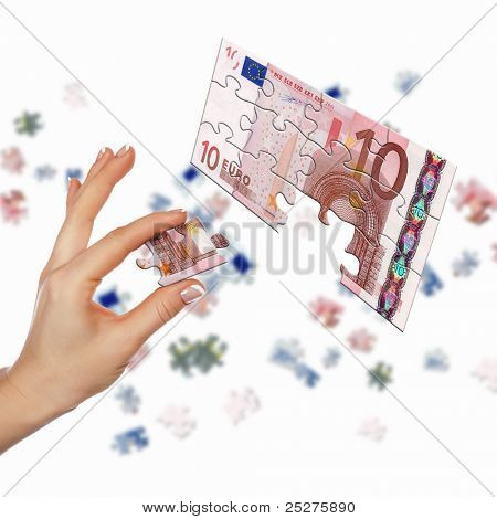 pieces of euro banknote puzzle getting together poster