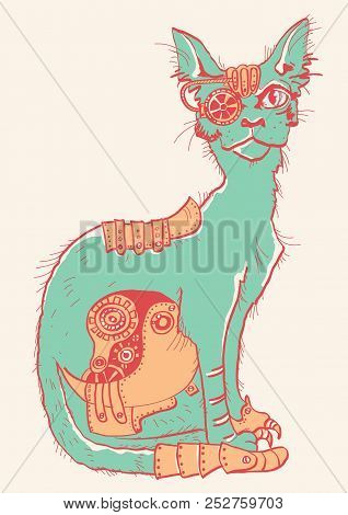 Cat With Mechanical Parts Of Body. Hand Drawn Color Illustration Isolated On White