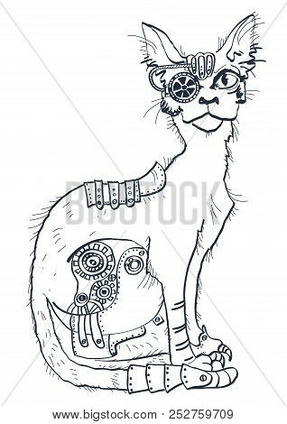Cat With Mechanical Parts Of Body. Hand Drawn Illustration Isolated On White