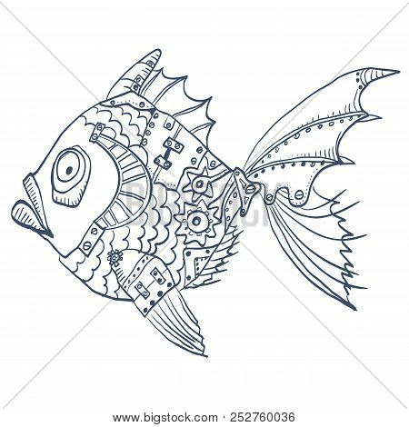 Fish With Mechanical Parts Of Body. Hand Drawn Background Illustration