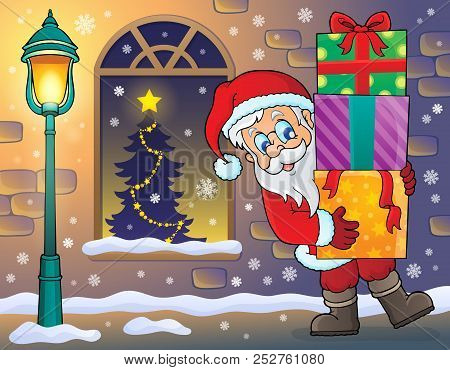 Santa Claus On Sidewalk Theme 2 - Eps10 Vector Picture Illustration.