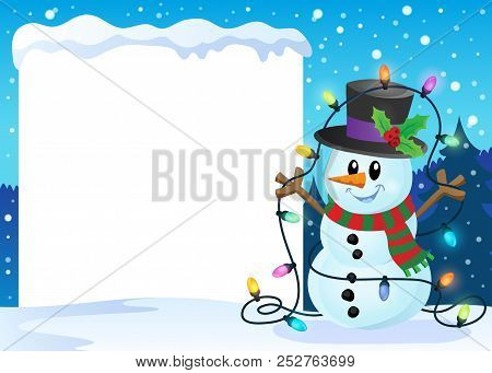 Snowy Frame With Christmas Snowman 2 - Eps10 Vector Picture Illustration.