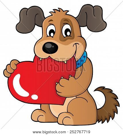 Valentine Dog Theme Image 1 - Eps10 Vector Picture Illustration.