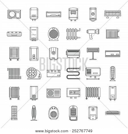 Electric Heater Device Icons Set. Outline Illustration Of 36 Electric Heater Device Icons For Web