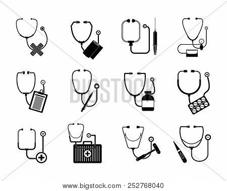 Phonendoscope Stethoscope Icons Set. Somple Illustration Of 12 Phonendoscope Stethoscope Icons For W