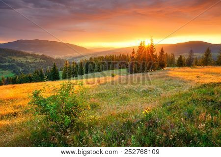 Autumn Landscape. Colorful Autumn Nature. Picturesque Hills And Valleys In The Morning. Vivid Sunris