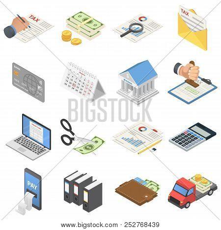 Taxes Accounting Money Icons Set. Isometric Illustration Of 16 Taxes Accounting Money Icons For Web