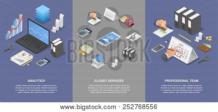Taxes Accounting Money Banner Concept Set. Isometric Illustration Of 4 Taxes Accounting Money Banner