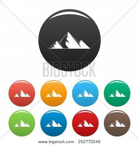 Mountain Peak Icon. Simple Illustration Of Mountain Peak Icons Set Color Isolated On White