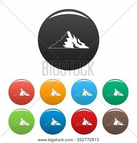Snow Mountain Icon. Simple Illustration Of Snow Mountain Icons Set Color Isolated On White