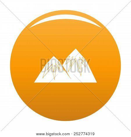 Snow Peak Icon. Simple Illustration Of Snow Peak Icon For Any Design Orange