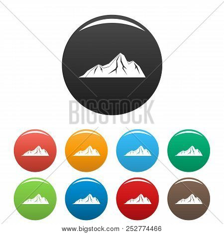 Tall Mountain Icon. Simple Illustration Of Tall Mountain Icons Set Color Isolated On White