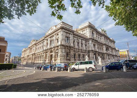 Cityscape With Corte Suprema Di Cassazione (supreme Court Of Cassation Of Italy) In The Bank Of The