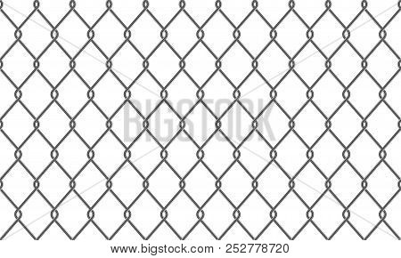 Chain-link Fence Pattern Background. Vector Seamless Realistic Metal Or Wire Mesh Netting Or Chain L