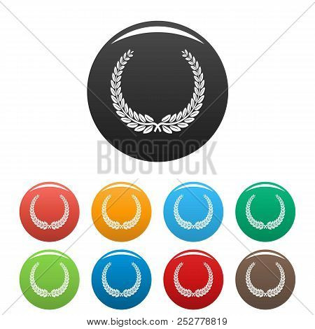 Leader Wreath Icon. Simple Illustration Of Leader Wreath Icons Set Color Isolated On White