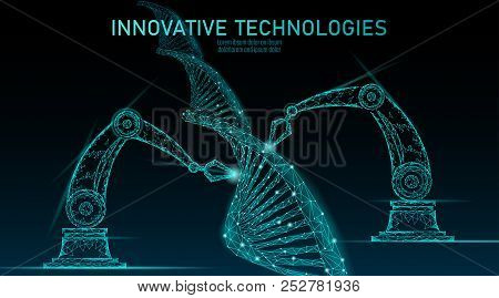 Low Poly Chemical Dna Synthesis Science Concept. Polygon Lab Chemistry Genetic Engineering Reactor.