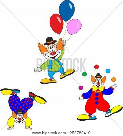 Cute Clown Character Design Set. Birthday Or Carnival Party Invitation.