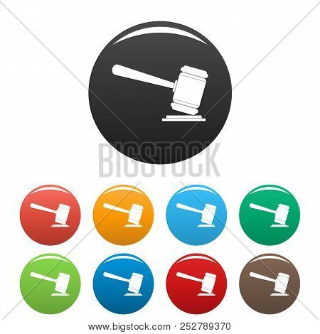 Judge Gavel Icon. Simple Illustration Of Judge Gavel Icons Set Color Isolated On White