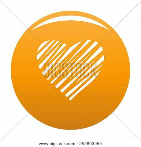 Shaded Heart Icon. Simple Illustration Of Shaded Heart Icon For Any Design Orange