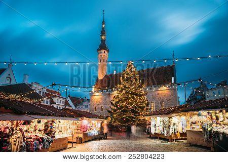 Tallinn, Estonia. Traditional Christmas Market On Town Hall Square