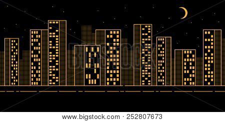 Simple Urban Night Landscape With Skyscrapers - Contour Pattern