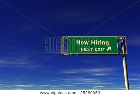 Now Hiring - Freeway Exit Sign