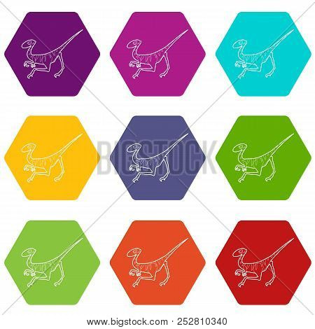 Velociraptor Icons 9 Set Coloful Isolated On White For Web